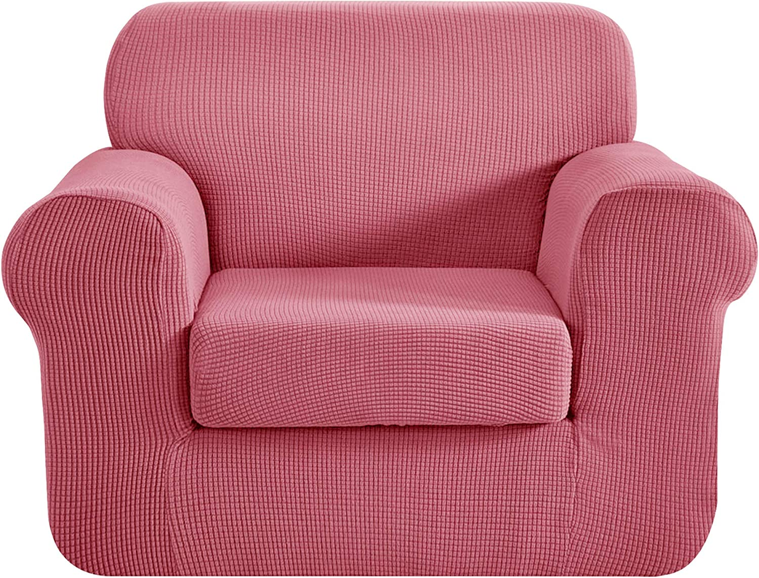 CHUN YI Chair Sofa Slipcover 2-Piece Couch Cover Furniture Protector, 1 Seater Coat Soft with Elastic Bottom, Checks Spandex Jacquard Fabric, Small, Coral Pink