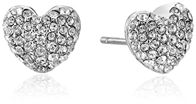bb9ff9316b0a Amazon.com  Michael Kors Brilliance Pave Hearts Silver-Tone and Crystal  Heart Stud Earrings  Jewelry