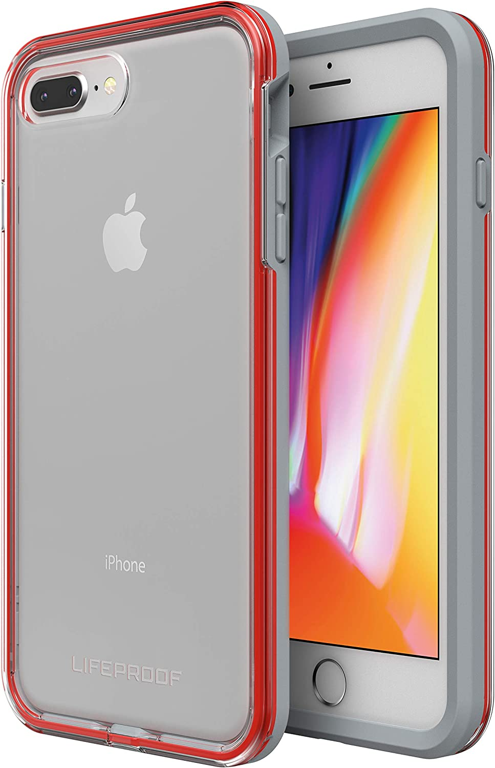LifeProof SLAM Series Case for iPhone 8 Plus & 7 Plus (ONLY) - Retail Packaging - Lava Chaser (Clear/Cherry Tomato/Sleet) (77-57420)