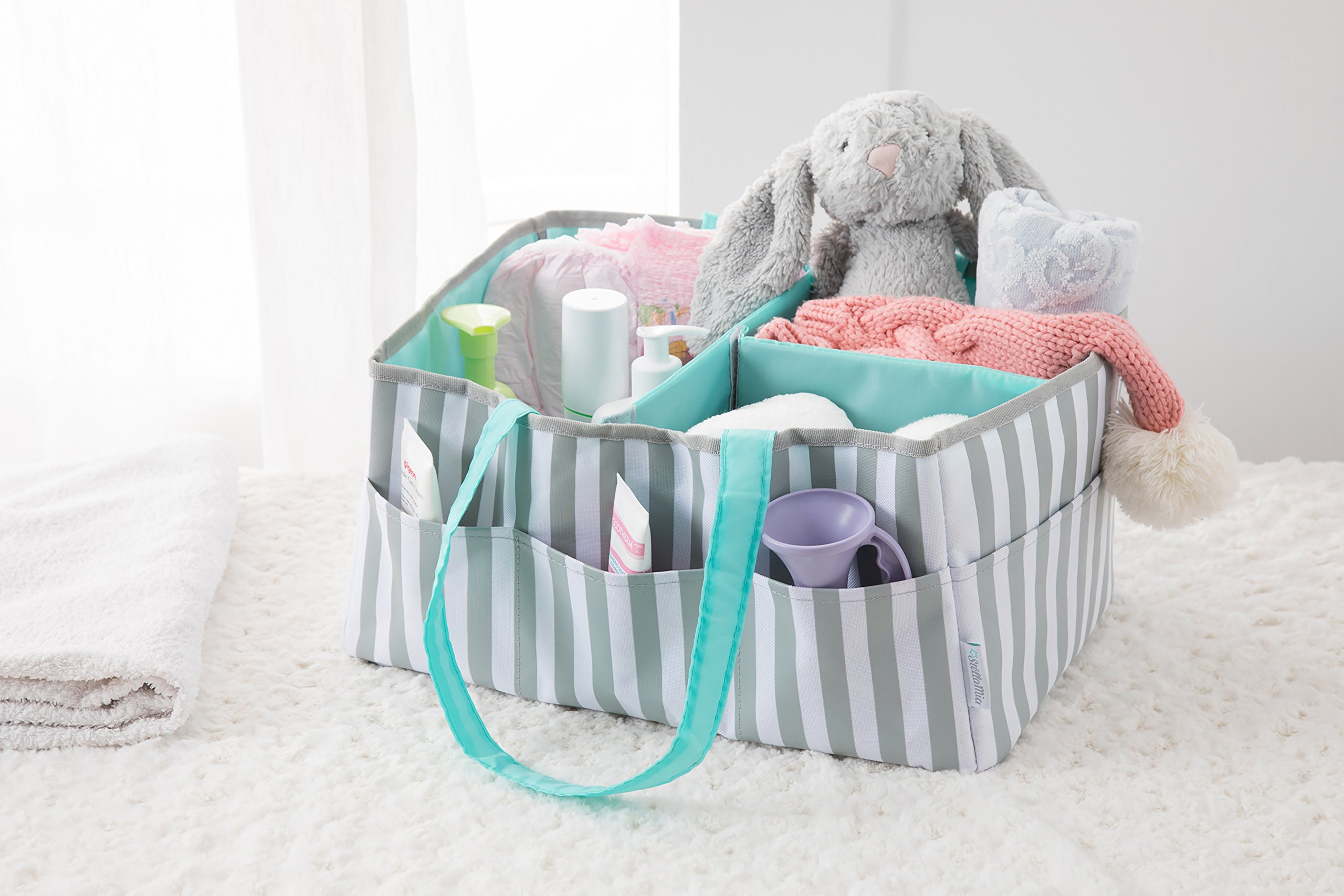 Stella Mia Diaper Caddy [Bonus Changing Pad] - Extra-Large Portable Nursery Diaper Stacker - Changing Table Organizer for Baby Essentials - Perfect Baby Shower Gift, Baby Registry Must Have by Stella Mia (Image #6)