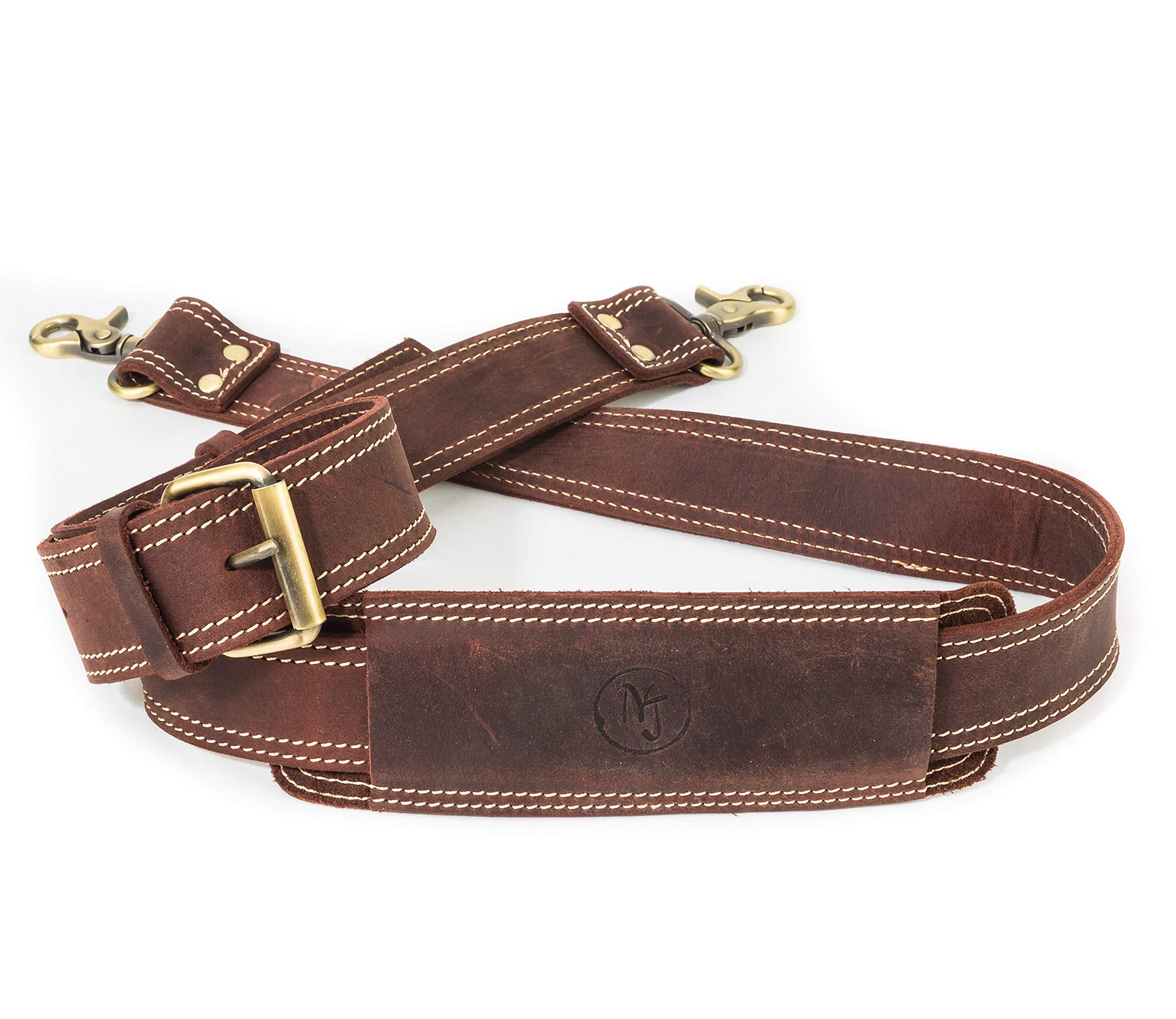 Messenger Bag Strap Replacement - Quality Genuine Cowhide Leather Adjustable Shoulder Strap; for Messenger, Laptop, Camera, Travel Bags and More (Dark Brown)