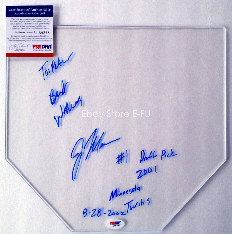 Very Rare Joe Mauer Autographed Signed Clear Base Auto Inscriptions PSA/DNA Autograph