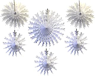 product image for Devra Party 6-Piece Tissue Paper Snowflakes, White, 15-22 Inch