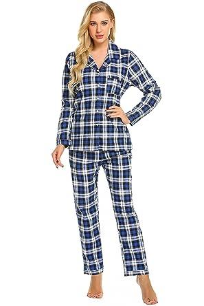 24d5f3cd7c7ff Goldenfox Female s Plaid Sleepwear Long Sleeve Pyjama Set with Pj Pants  (Black
