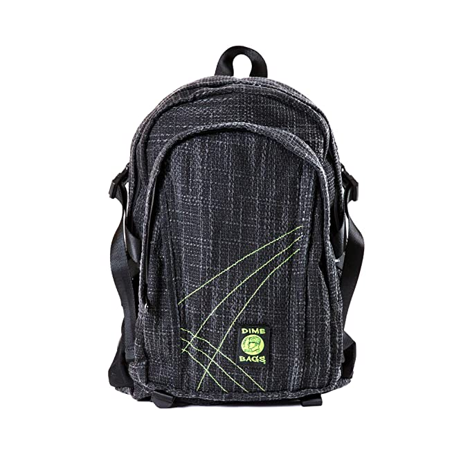 Original Hemp Backpack - Knapsack w/Smell Proof Pouch & Secret Pocket (Black)