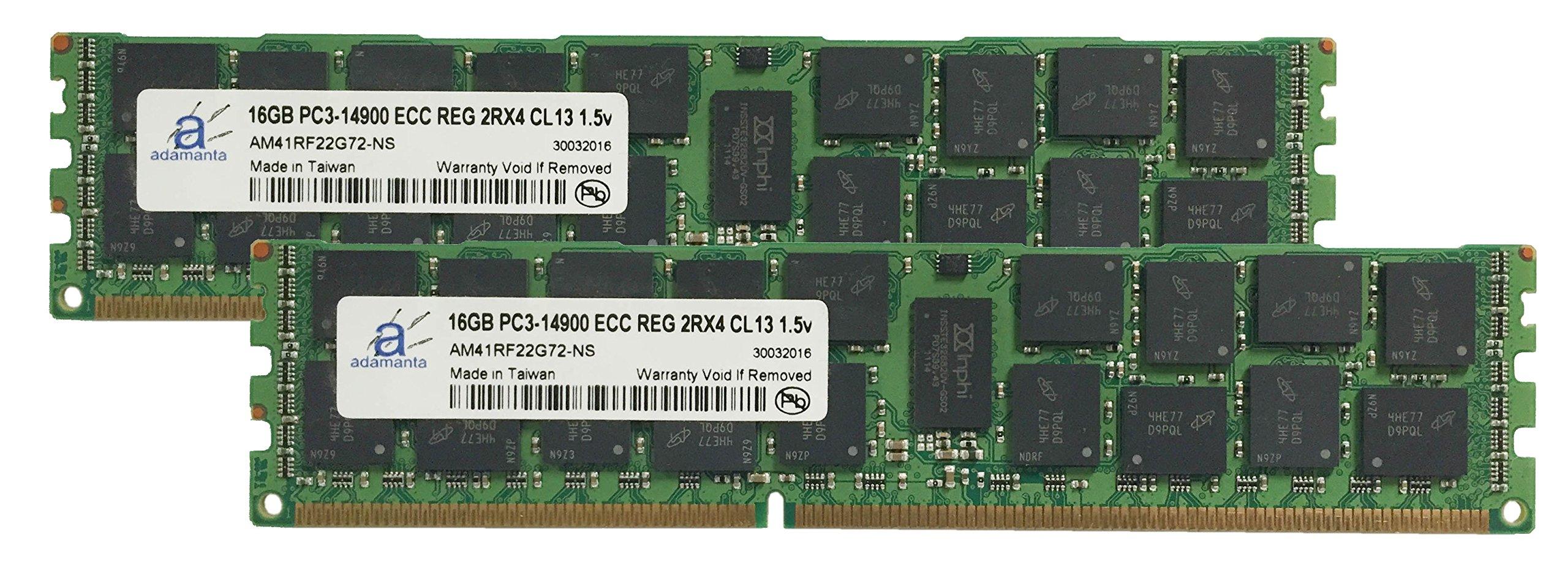 Adamanta 32GB (2x16GB) Server Memory Upgrade for Dell PowerEdge T620 DDR3 1866Mhz PC3-14900 ECC Registered 2Rx4 CL13 1.5v by Adamanta Memory