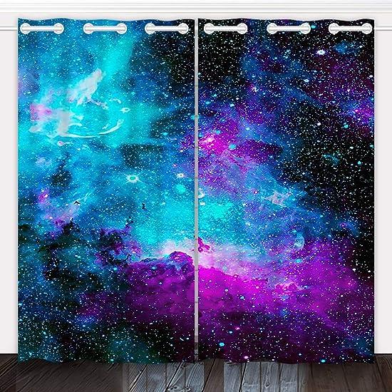 HommomH 54 x 84 inch Curtains 2 Panel Grommet Top Darkening Blackout Room Nebula Galaxy Blue