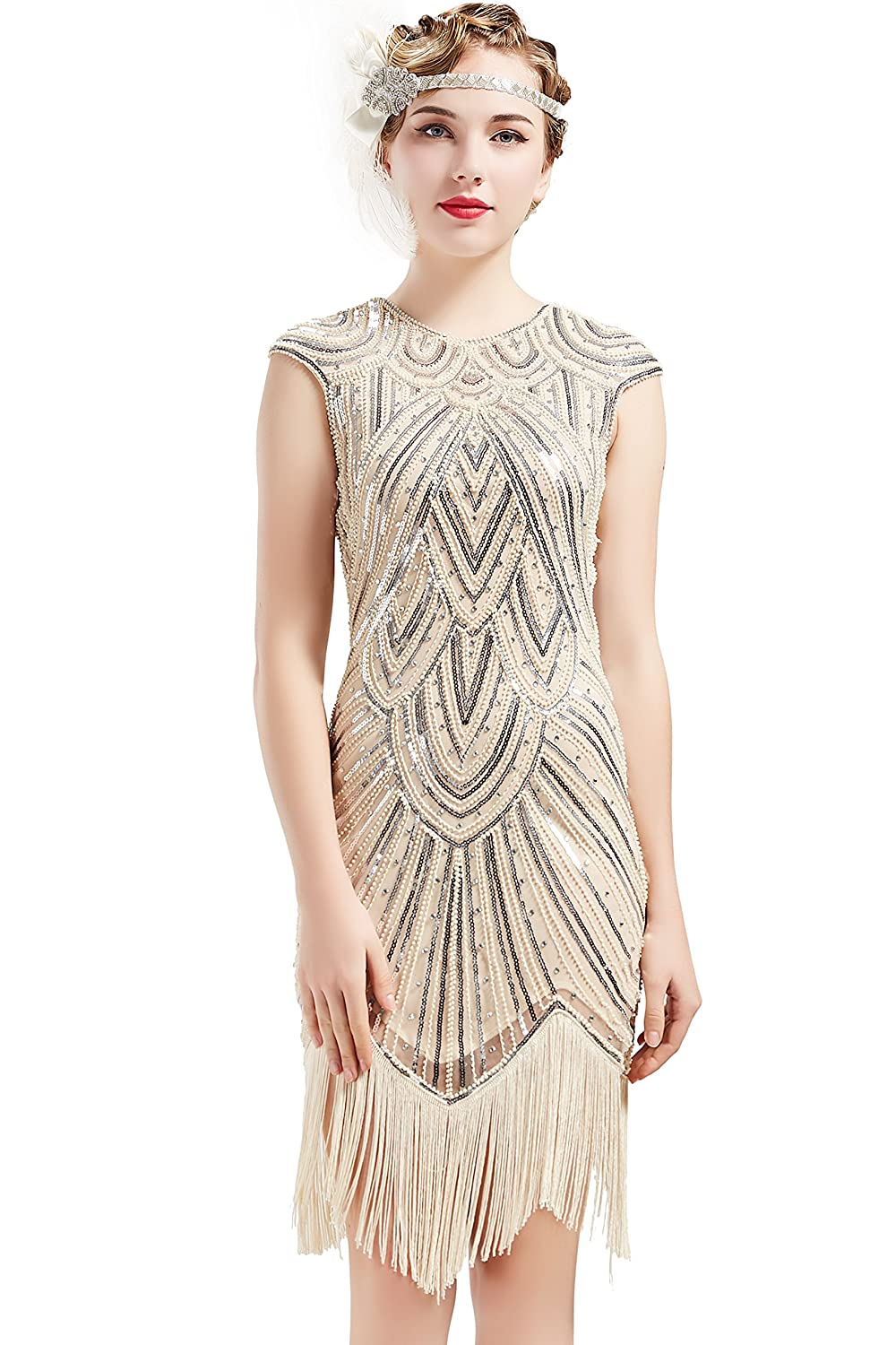 e0455df37 BABEYOND Women's Flapper Dresses 1920s Beaded Fringed Great Gatsby Dress at  Amazon Women's Clothing store:
