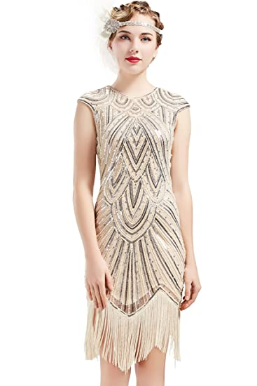 a456a27e3eea BABEYOND Women's Flapper Dresses 1920s Beaded Fringed Great Gatsby Dress  (Beige-Crystal, X