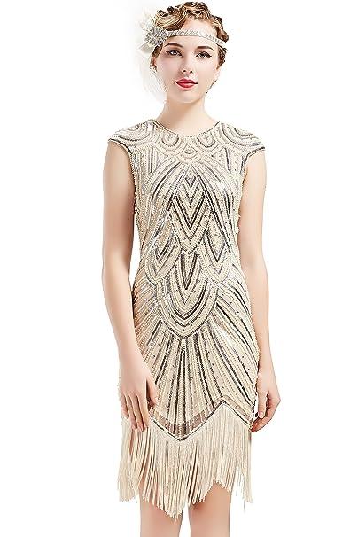 BABEYOND Vestidos de Aleta de Mujer 1920 Vestido de Flecos de Gran Gatsby (Beige-