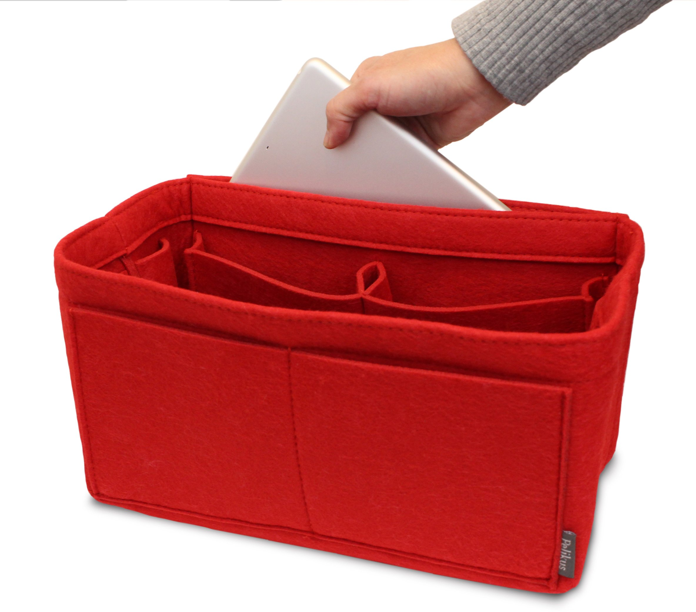Pelikus Felt Purse & Tote Organizer Insert/Multi-Pocket Handbag Shaper (Large, Red) by Pelikus (Image #5)