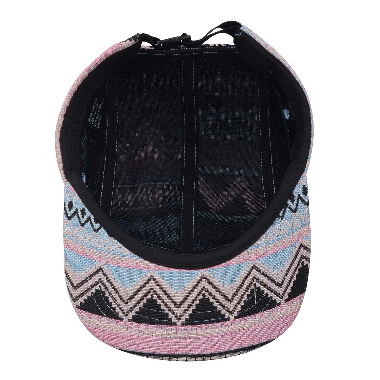 033f0ac4a3b56 Hatphile Pattern Multi Color Stripe 5 Panel Hat Aztec Pink Blue at Amazon  Men s Clothing store