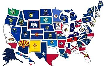 Rv State Sticker Travel Map 14 X 22 50 Usa States Flag