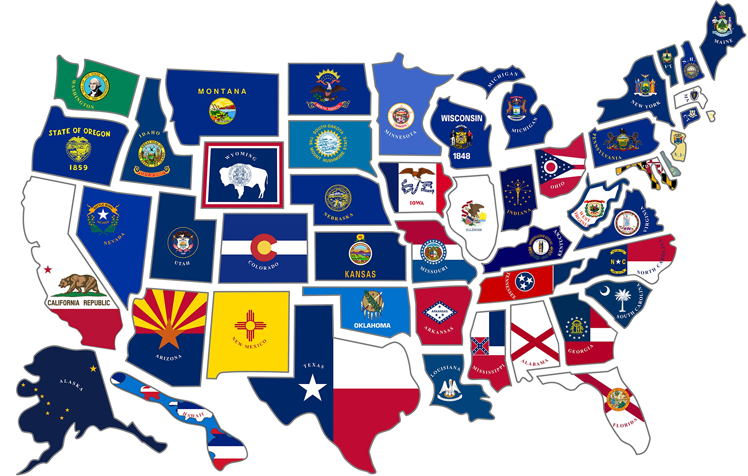 RV State Sticker Travel Map    14'' x 22''   50 - USA States Flag Visited Decal    USA Road Trip Window Stickers    Motorhome Camper Trailer 5th Wheel Accessories