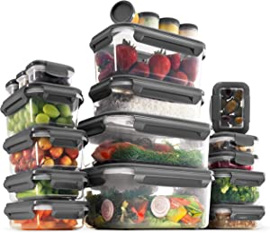 40-Piece Airtight Food-Storage Containers With Lids BPA-Free Durable Plastic Food-Containers Set - 100% Leakproof Guaranteed - Freezer, Microwave & Dishwasher-safe - Leftover, Meal Prep Etc (Blue)