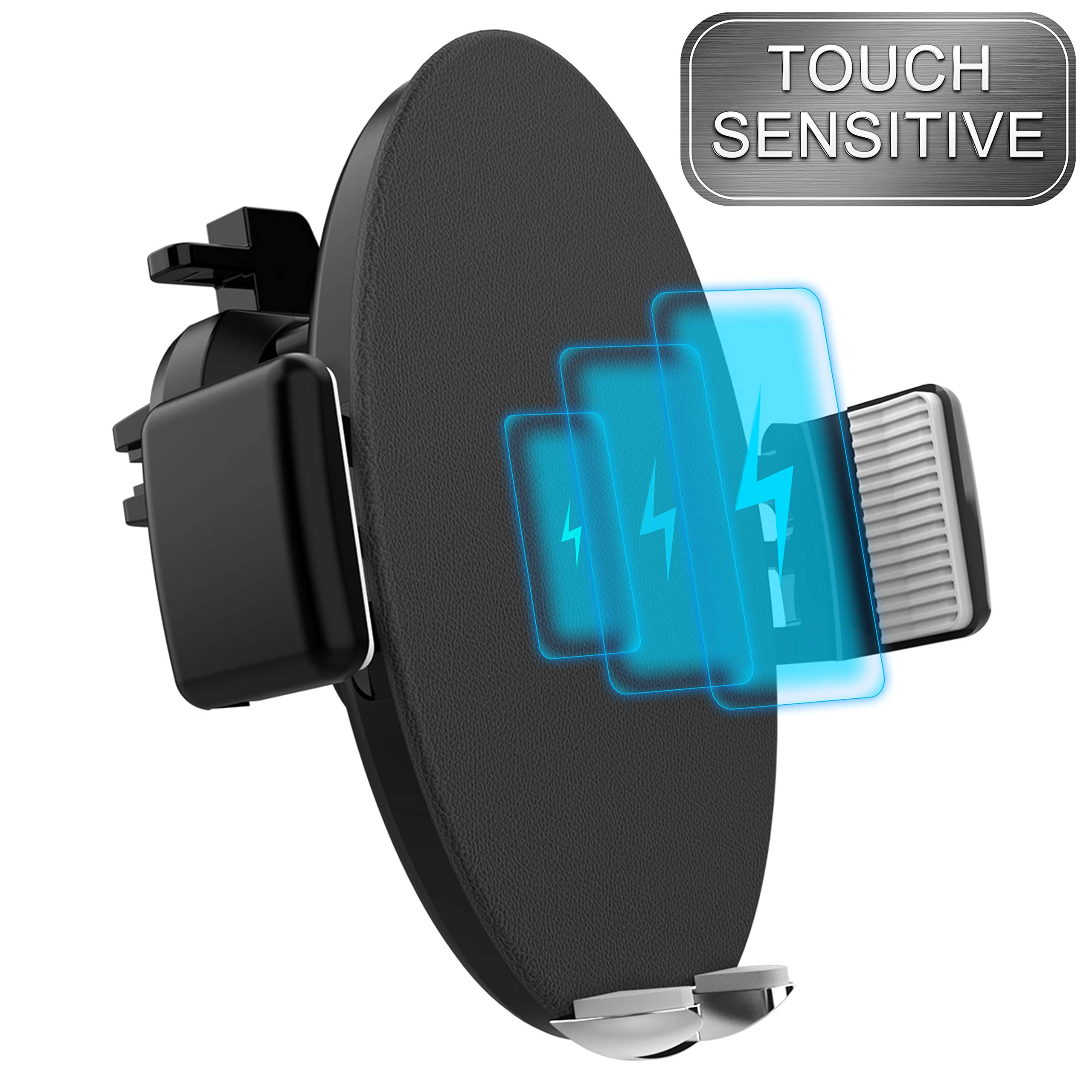 Touch Sensitive Car Mount Wireless Charger, Qi Fast Wireless Car Charger, One-Hand Operation Car Mount Compatible with Samsung Galaxy S9/S8/S7/S7 Edge/S7 Edge, Note and More