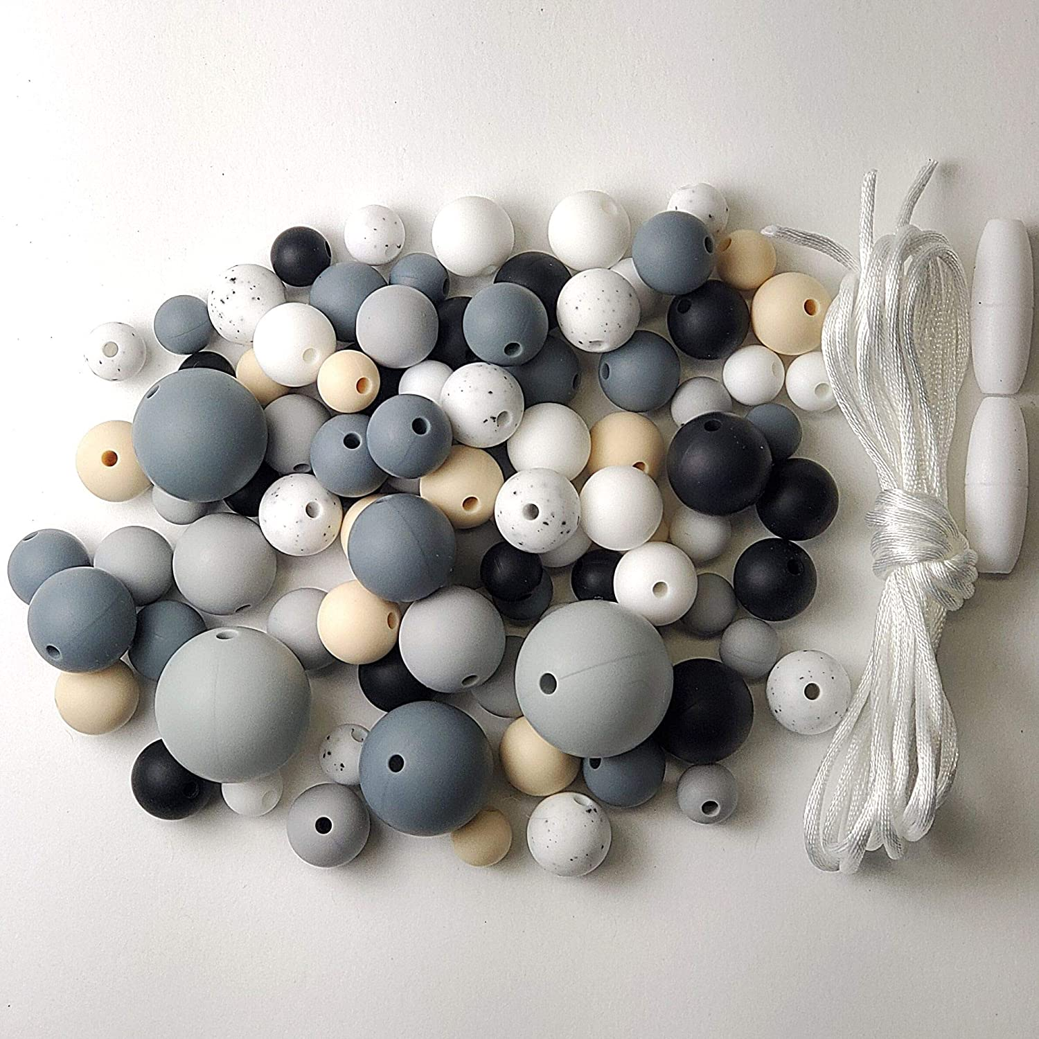 Silicone Beads - 100PC Various Round Size Beads - Jewelry Necklace Bracelet Making Kit - Food Grade BPA Free Arts and Crafts Supplies (100PC Charcoal)