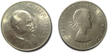 Stampbank Monedas de colección - Winston Churchilll Conmemorativa de Cinco chelines de Moneda Corona a Partir de 1965: Amazon.es: Juguetes y juegos