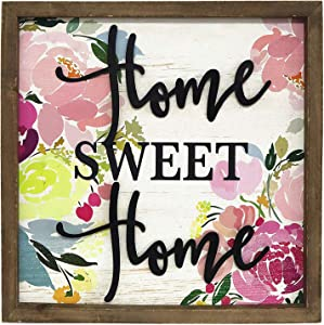 Home Sweet Home Wall Plaque, Rustic Wood Framed Metal Home Word Wall Decor, Modern Farmhouse Wall Hanging Art, 15.75 x 15.75 Inches