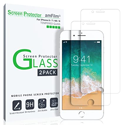 iPhone 8, 7, 6S, 6, Screen Protector Glass, amFilm iPhone 8,...