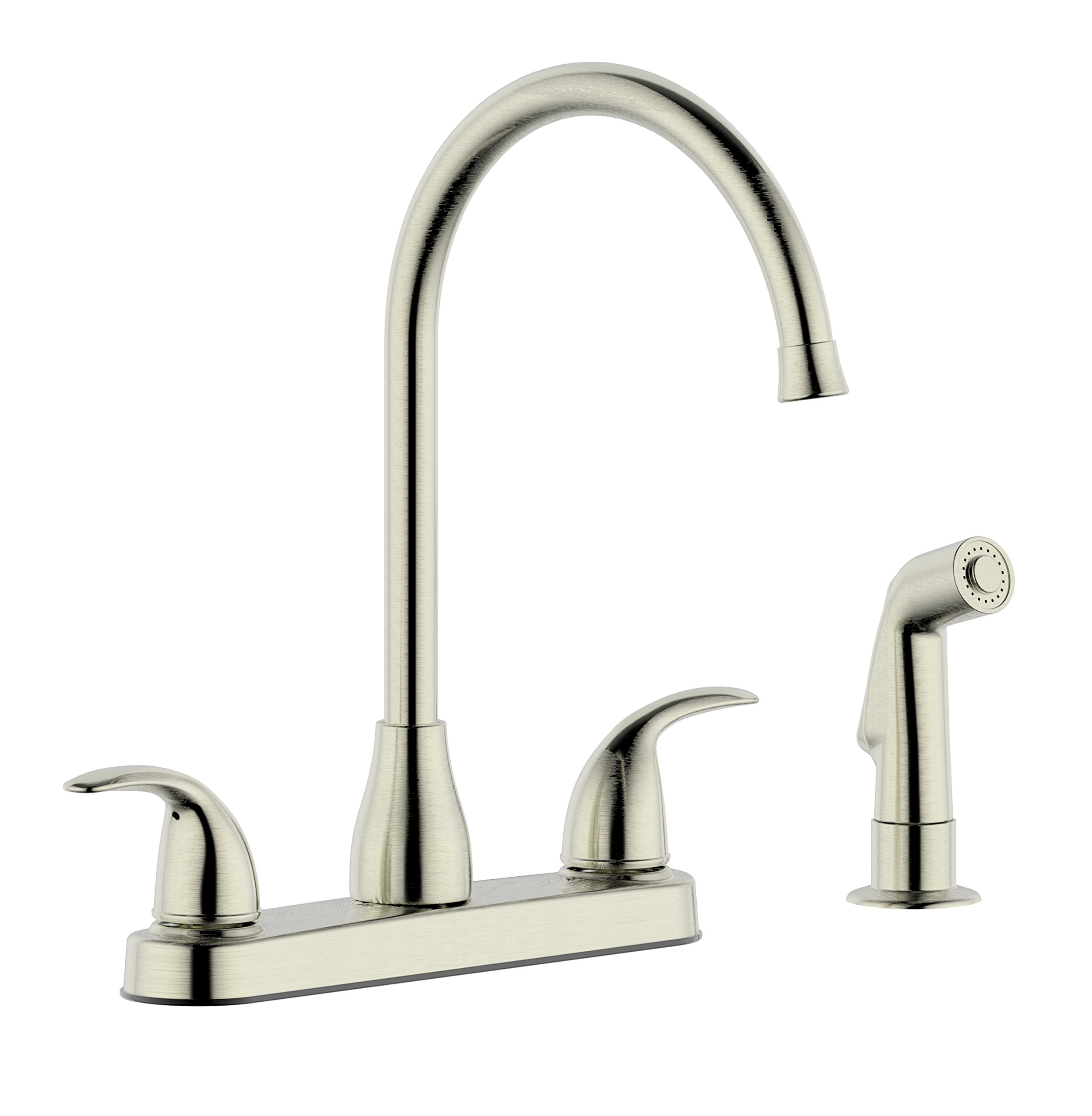 Derengge KFW8303 8'' Two Handle Kitchen Faucet with Contemporary Side Spray,Meets with cUPC NSF61-9 and AB1953 Lead Free Standard, Stainless Steel