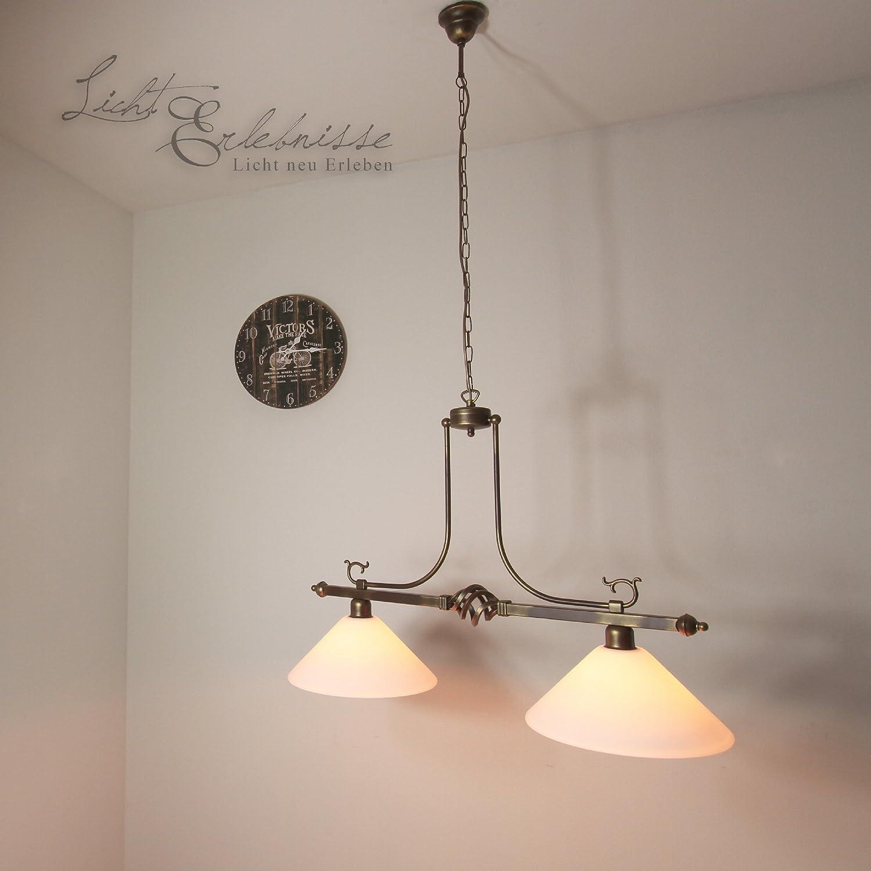 Elegante Hängeleuchte in braunantik Jugendstil inkl. 2x 12W E27 LED 230V Pendelleuchte aus Glas & Stahl Hängelampe für Wohnzimmer Esszimmer Lampe Leuchten innen