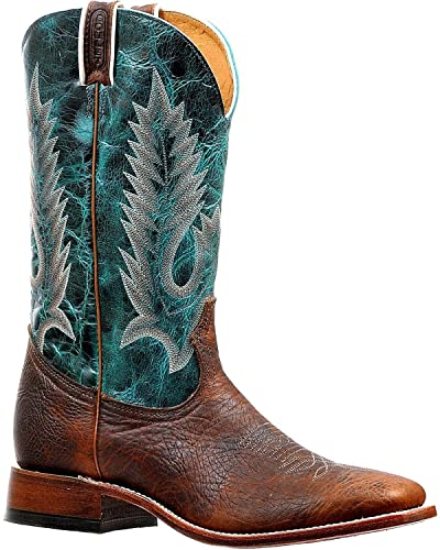 Men's Embroidery Cowboy Boot Square Toe Brown 10.5 D