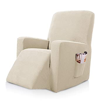 subrtex Stretch Recliner Chair Slipcover Furniture Protector Lazy Boy  Covers for Leather and Fabric Recliner Sofa with Side Pocket (Recliner,  Ivory)