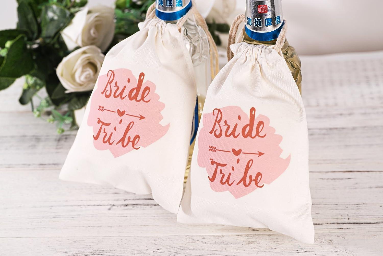 Amazon.com: Drawstring Bride & Tribe Bags Canvas Favor Bags - 10 PCS ...