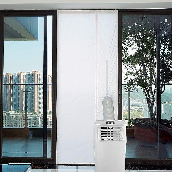 Yinong Kit de Sellado de Puerta de Aire Acondicionado portátil, Airlock 90 x210 CM Cubierta Aislante de Tela para Puertas Y Ventanas para Máquinas de Aire Acondicionado Portátiles: Amazon.es: Jardín