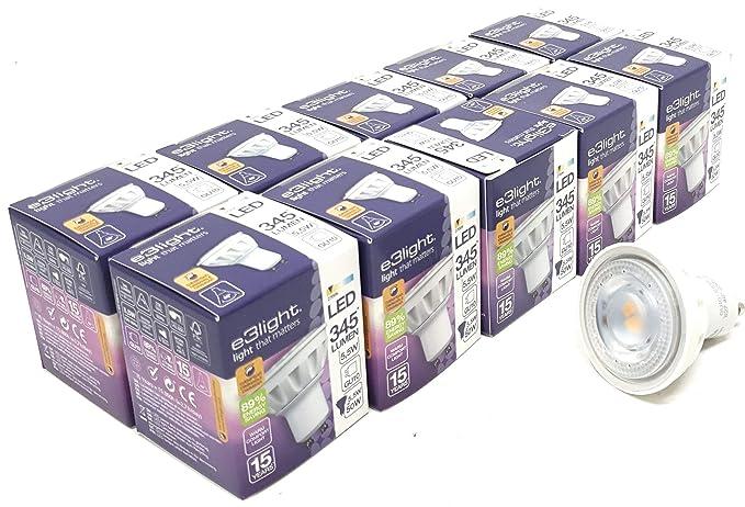 Paquete de 10 bombillas LED GU10 de intensidad regulable (5,5 W=50 W) de repuesto para lámparas halógenas de 50 W – 2700 K – 345 lúmenes – 89% ...