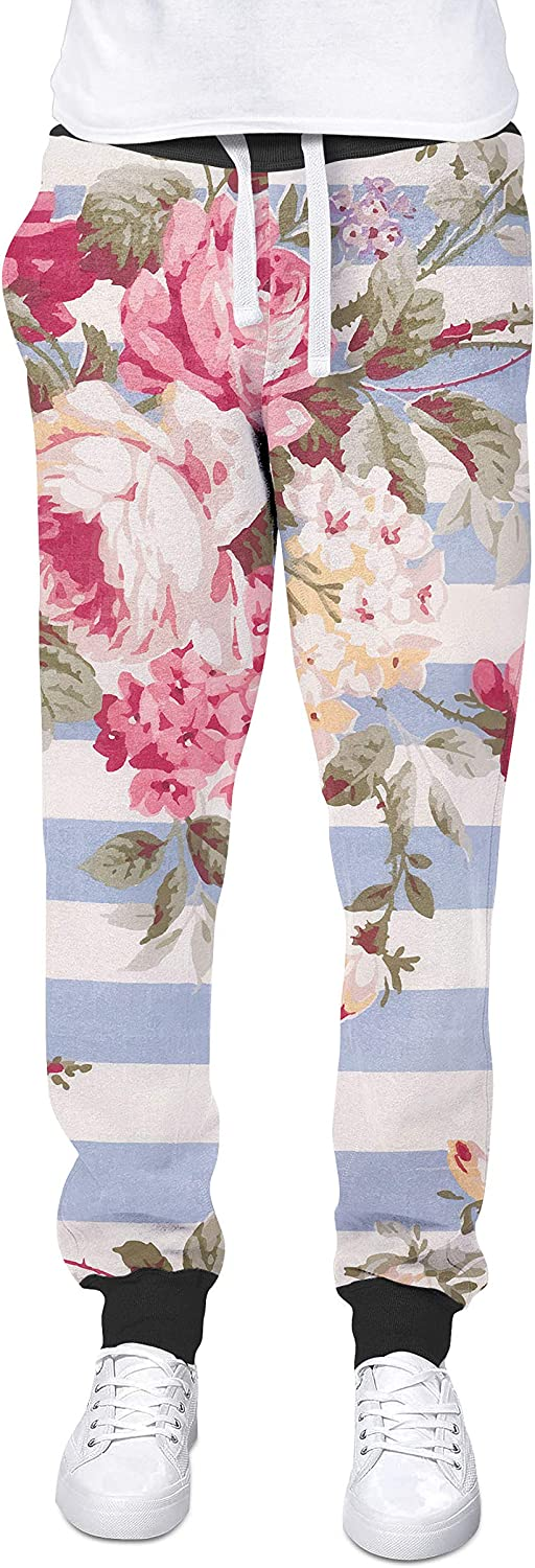 Antique Striped Floral Cuffed Joggers Sweatpants Jogging Bottoms