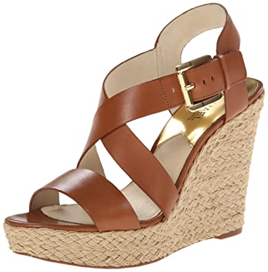 4579d55516c2 Michael Kors Giovanna Platform Wedge Sandals Luggage (8)  Amazon.co ...