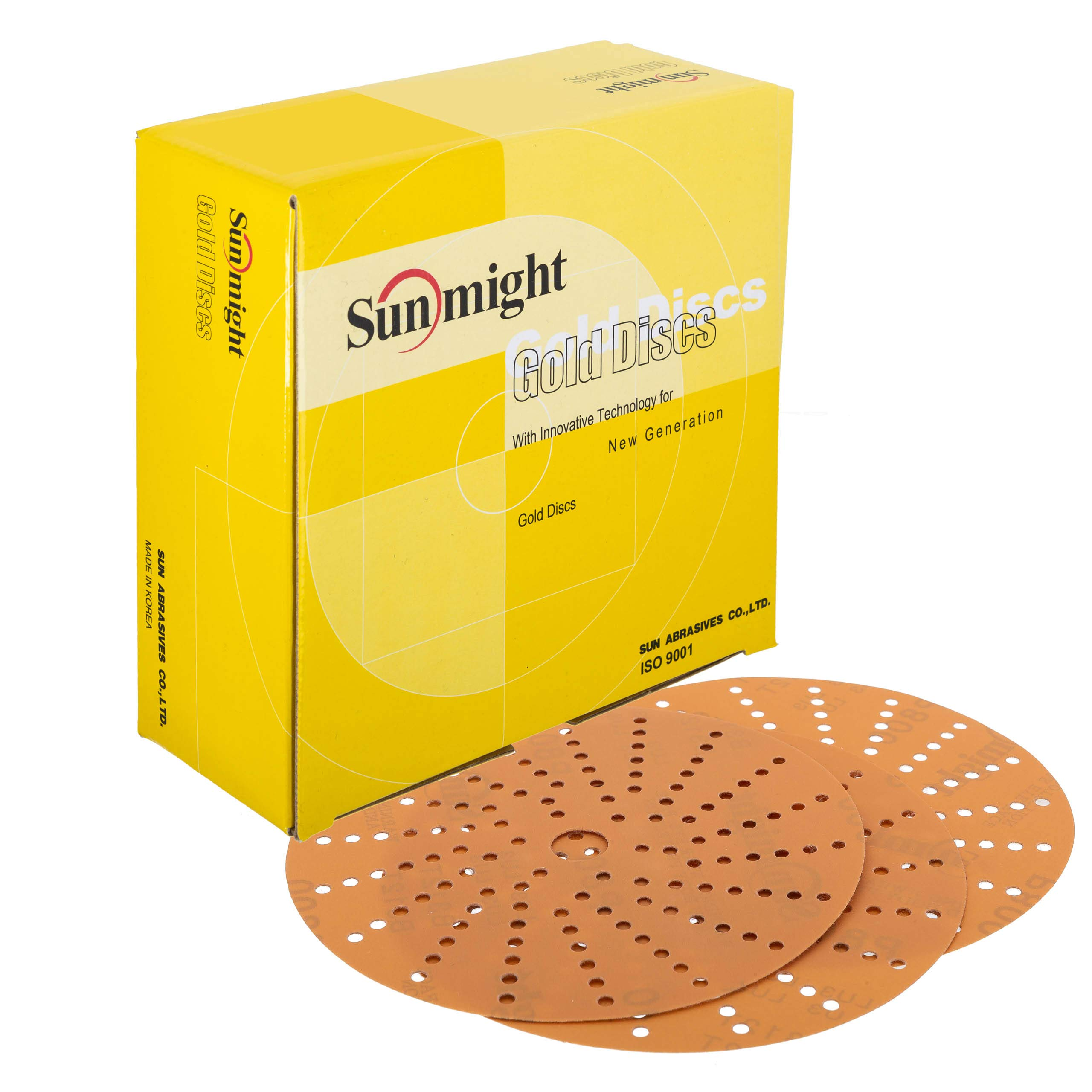 Sunmight 58614 1 Pack 6'' Multi Hole Velcro Disc (Gold Grit 320) by Sunmight