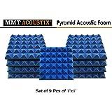 """MMT Acoustix® Pyramid Studio Soundproofing Acoustic Foam Tiles, 1'x1', 2"""", Blue (Set of 9)"""