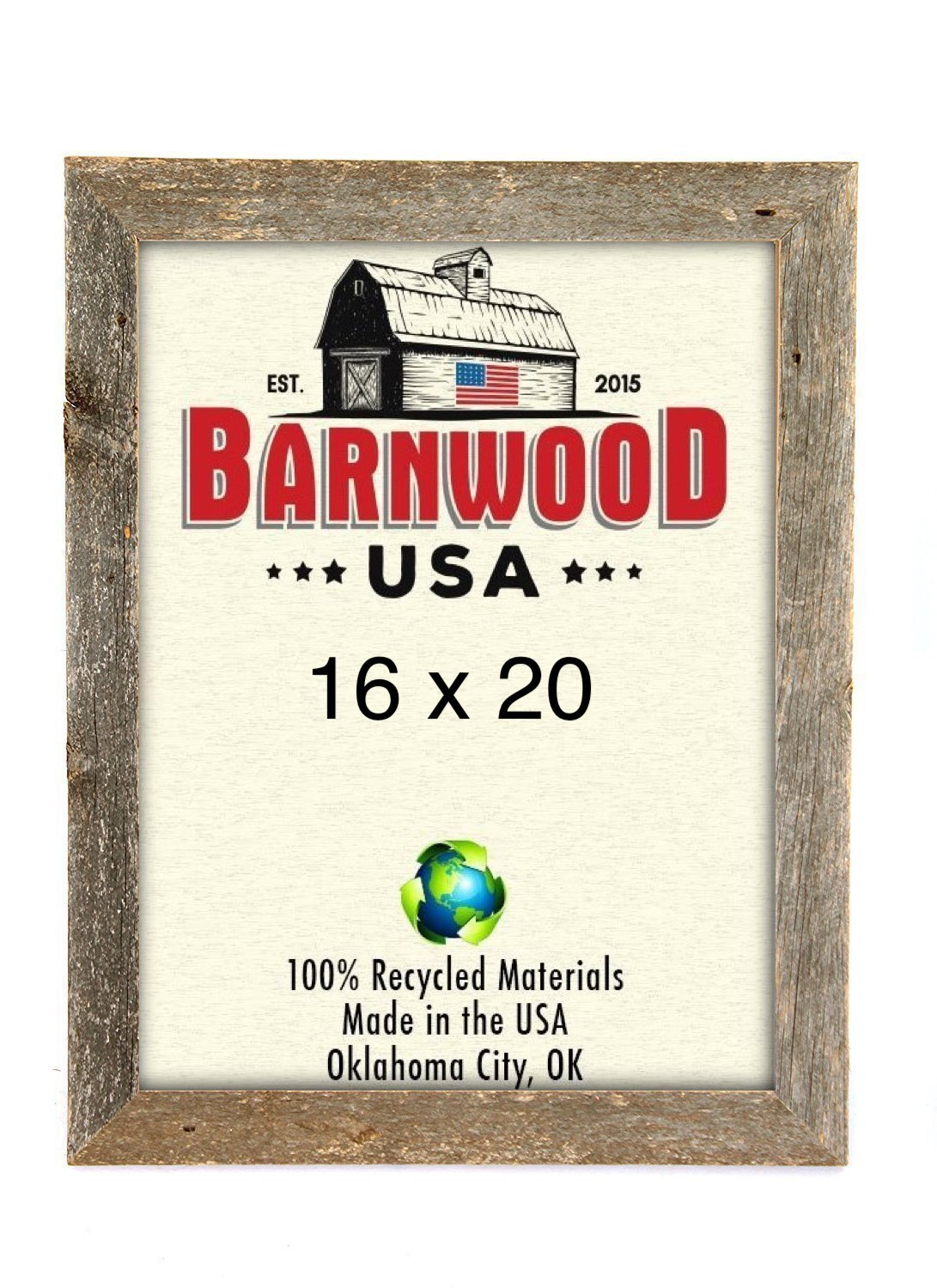 Shop amazon poster frames barnwoodusa rustic 16x20 inch picture frame 2 inch wide 100 reclaimed wood weathered jeuxipadfo Images