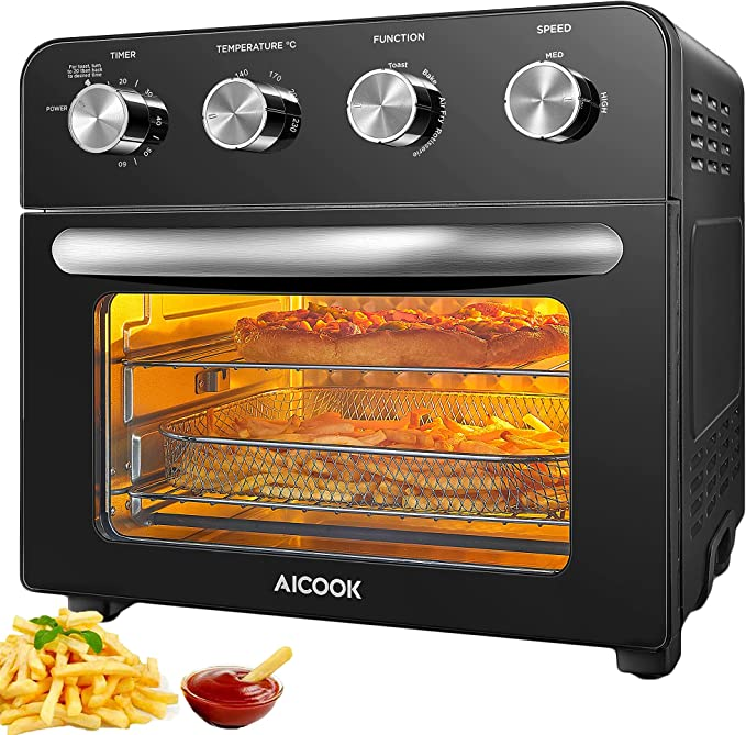 10-in-1 Air Fryer Oven, AICOOK 23L Countertop Convection Mini Oven Electric with Dehydrator & Rotisserie Function