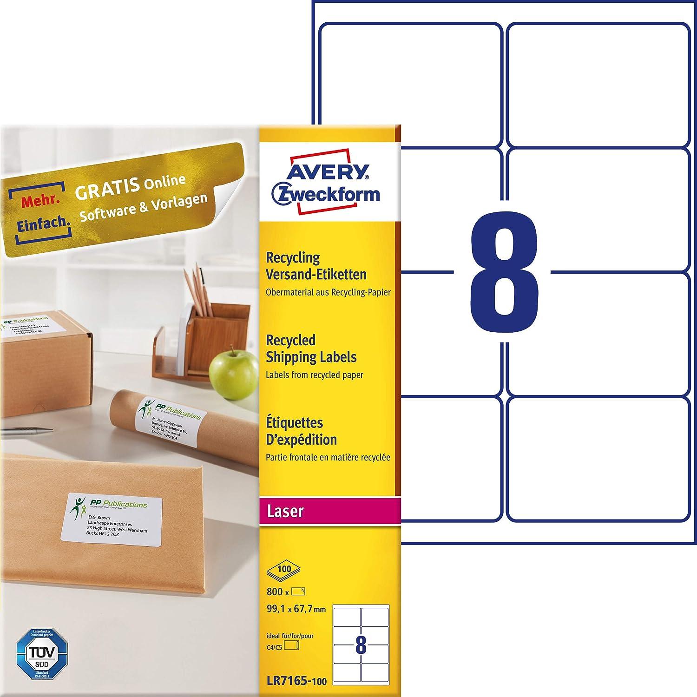 AVERY Zweckform LR7167-100 /Étiquettes recycl/ées 100 feuilles autocollantes 100 feuilles de papier mat 100 feuilles Blanc naturel 199,6 x 289,1 mm