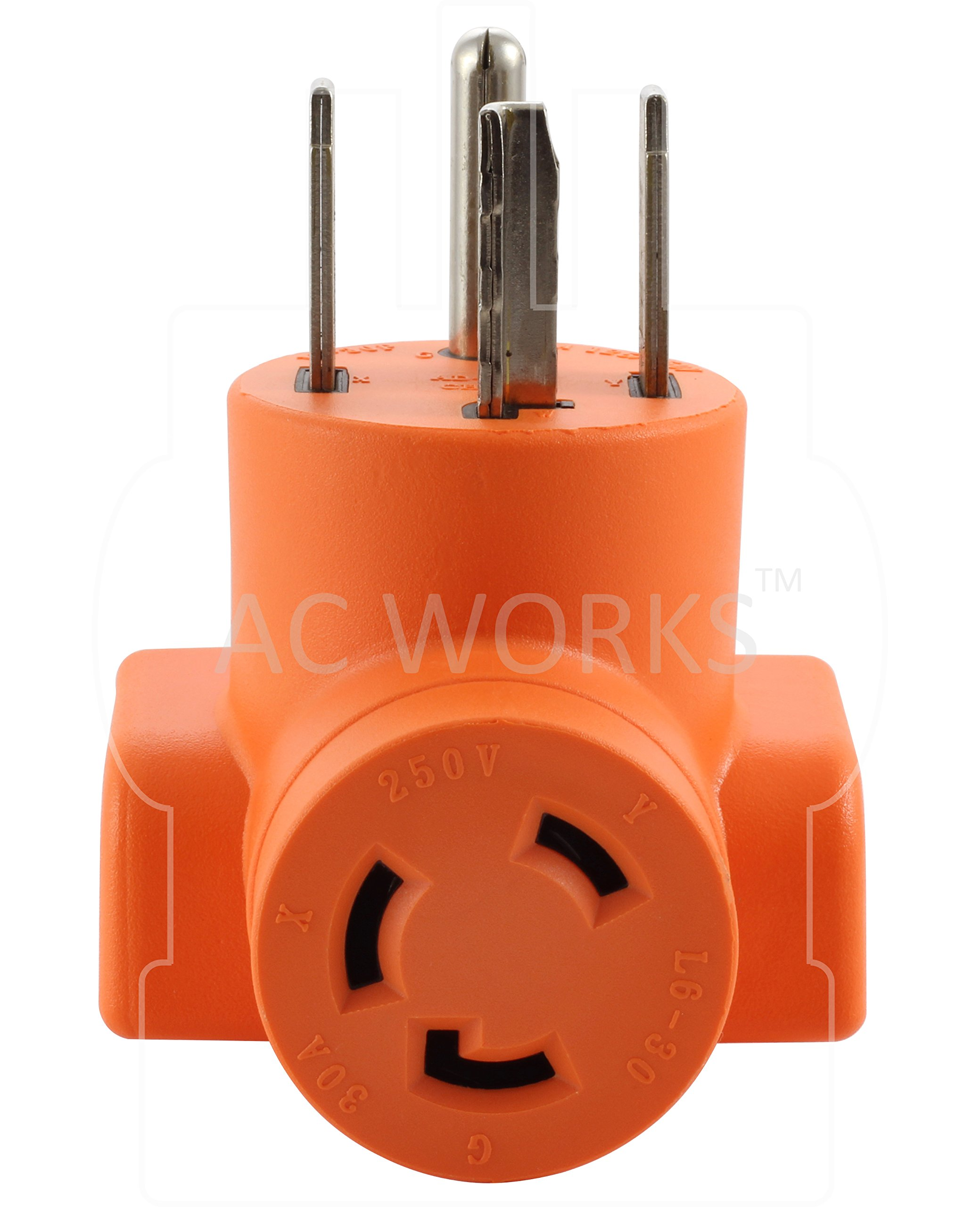 AC WORKS [AD1430L630] Plug Adapter NEMA 14-30P 4-Prong 30Amp Dryer Outlet to L6-30R 30Amp 250Volt Locking Female Connector by AC WORKS (Image #4)