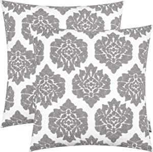 HWY 50 Decorative Throw Pillows Covers Grey Gray Embroidered Square Pillows Covers Cushion Cases Set for Couch Sofa Living Room Farmhouse Simple Geometric Floral 18 x 18 inch Pack of 2