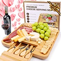 LENUE Premium Bamboo Cheese Board - Large Charcuterie Platter with Stainless Steel Knife Set - Wood Serving Tray and…