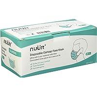NUÜR Niet-medisch 3-laags wegwerpbaar, gezichtsmaskers voor algemeen gebruik, met elastische oorhaak, eenheidsmaat…