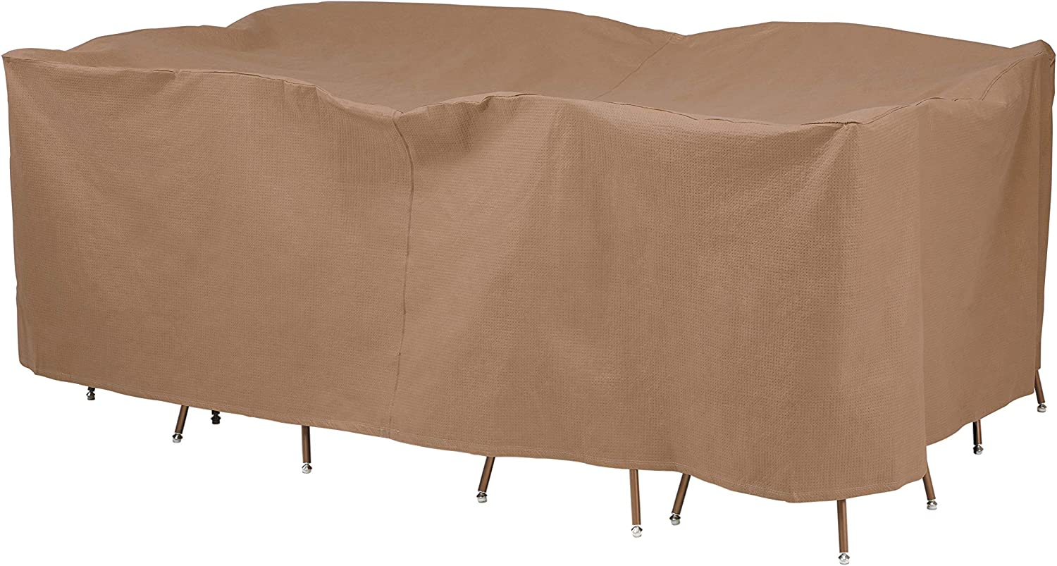Duck Covers Essential Water-Resistant 127 Inch Rectangular/Oval Patio Table & Chair Set Cover