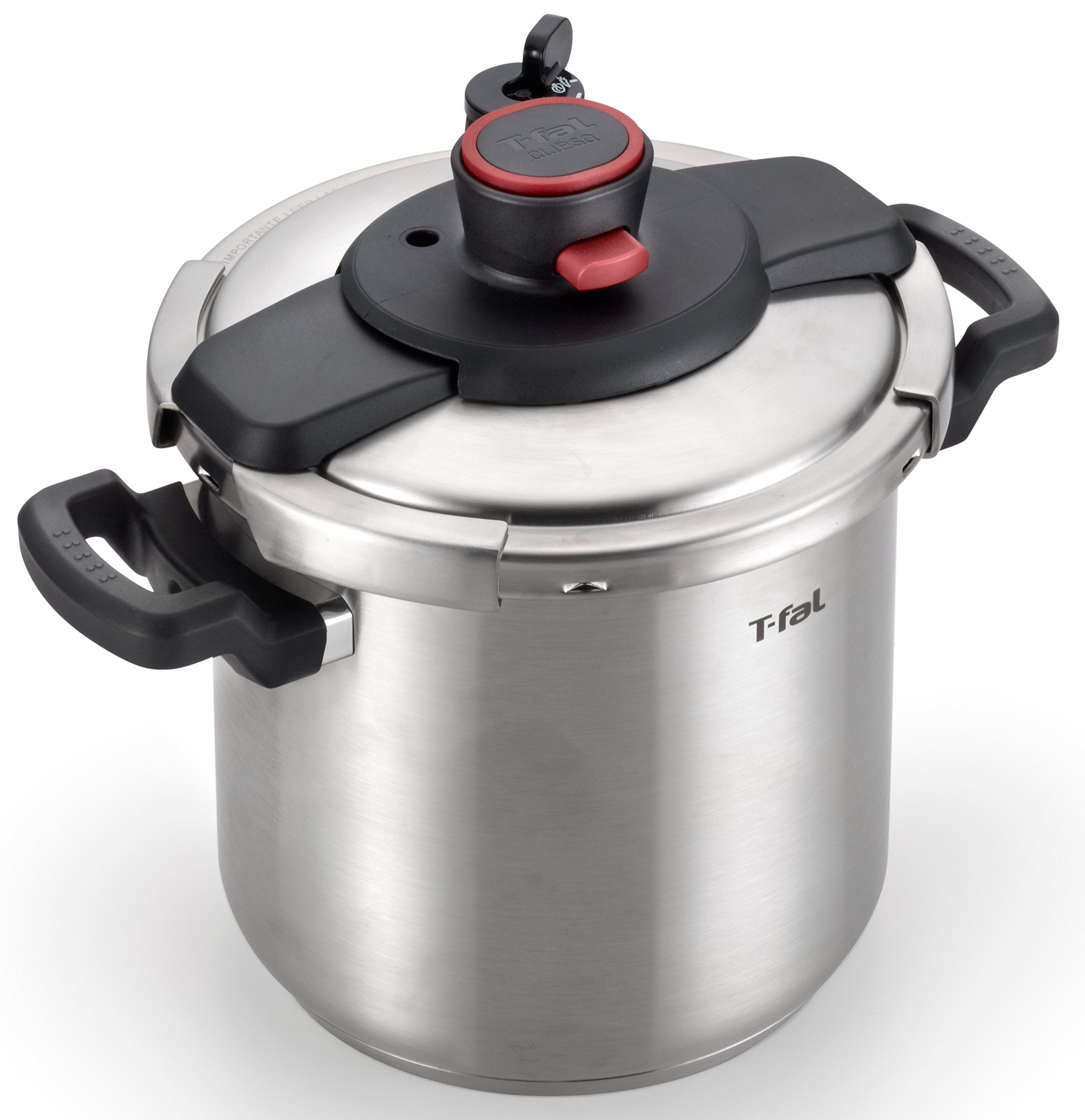 T-fal P45009 Clipso Stainless Steel Dishwasher Safe PTFE PFOA and Cadmium Free 12-PSI Pressure Cooker Cookware, 8-Quart, Silver by T-fal (Image #2)