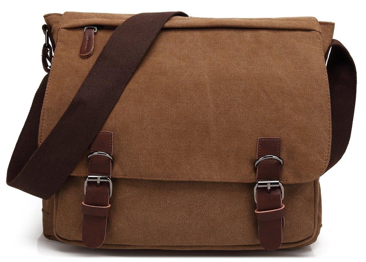 Kenox Vintage Classic Canvas Laptop Messenger Bag Crossbody School Bag Business Briefcase Brown 16 Inches