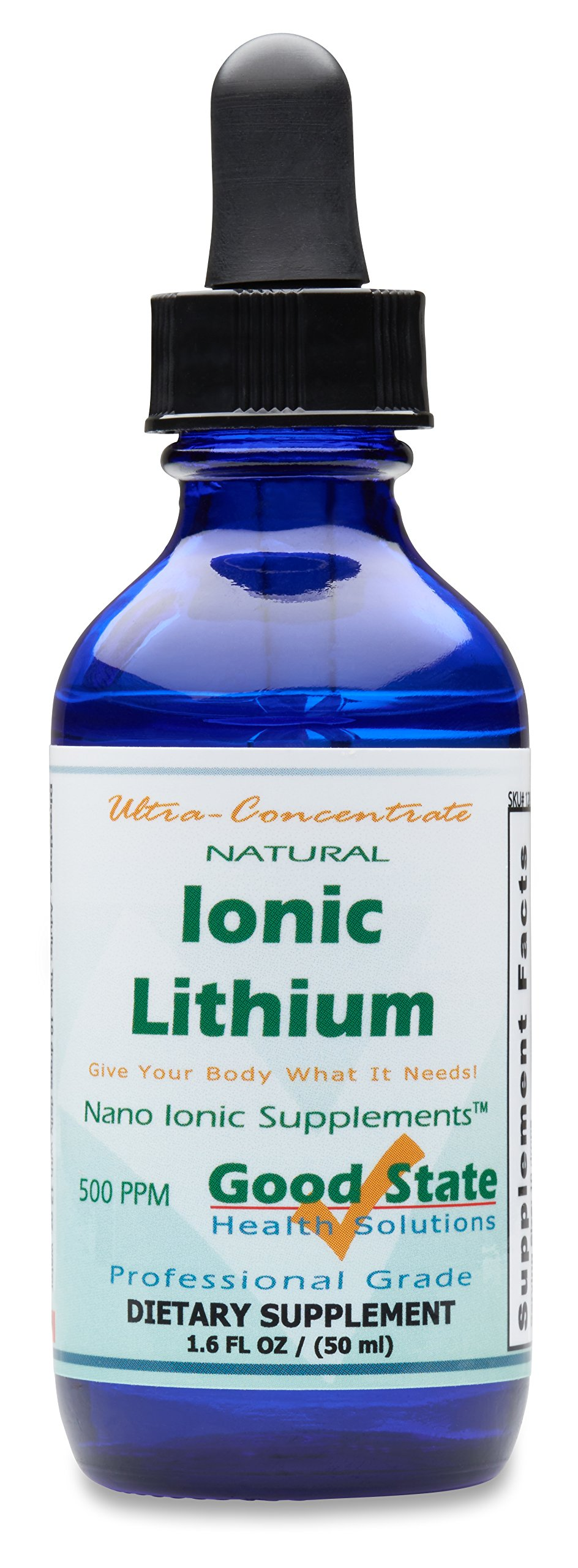 (Glass Bottle) Good State Liquid Ionic Lithium Ultra Concentrate (10 drops equals 500 mcg - 100 servings per bottle)