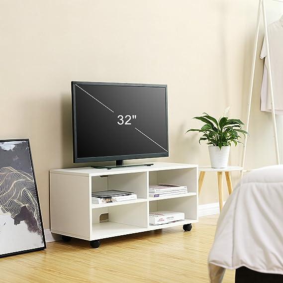 VASAGLE Mueble para TV con 4 Compartimentos y Ruedas, Mesa Baja para TV, Mueble para televisor, Disco Duro, para Comedor, Blanco LTC02WT: Amazon.es: Juguetes y juegos