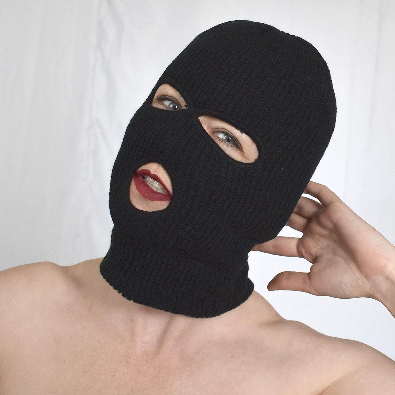 Oyolan Unisexe Cagoule Latex 3 Trous Ouvert Bouche Yeux Complet Capuche Brillant Harnais de T/ête pour Halloween Party Jeu de R/ôle Costume Accessoires D/éguisement Adulte