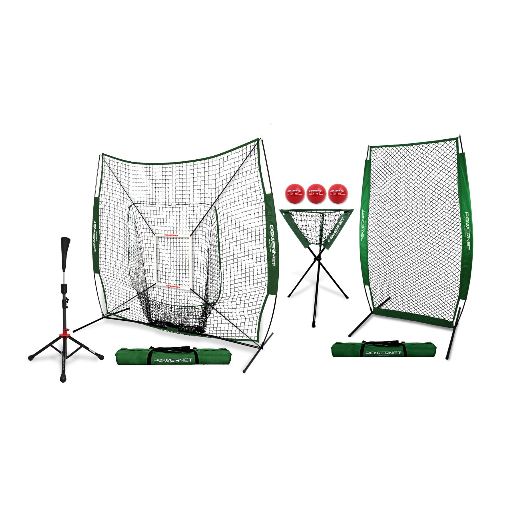 PowerNet [All in ONE Coach Bundle (Green) 7x7 DLX Practice Net + I-Screen + Deluxe Tee + Ball Caddy + 3 Pack Weighted Training Ball + Strike Zone Bundle | Baseball Softball Pitching Batting by PowerNet