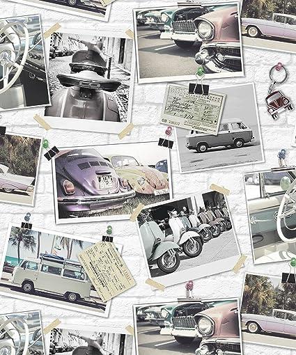 Holden Classic Cars Pattern Wallpaper Photo Collage Retro Brick